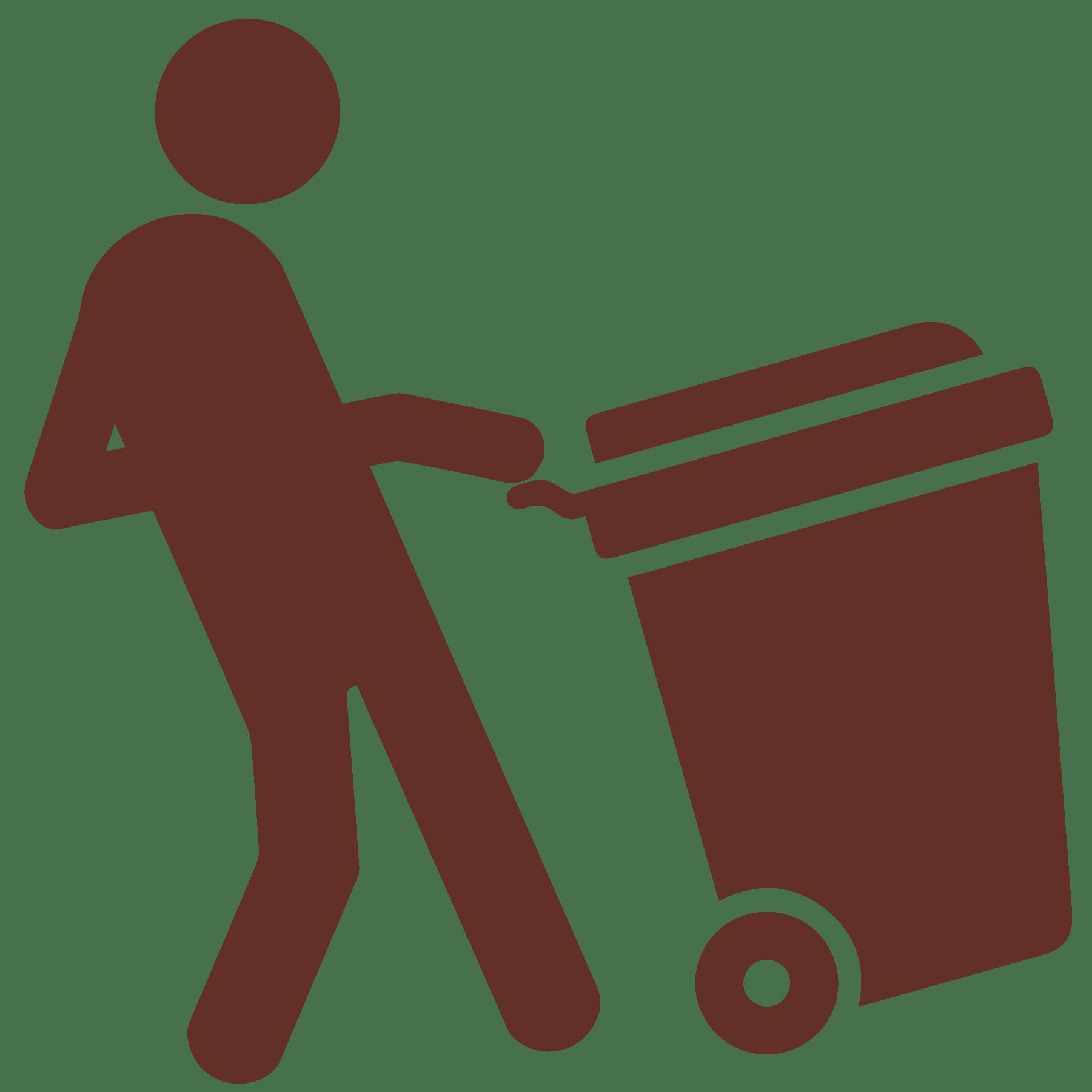 Western worker with trash bin