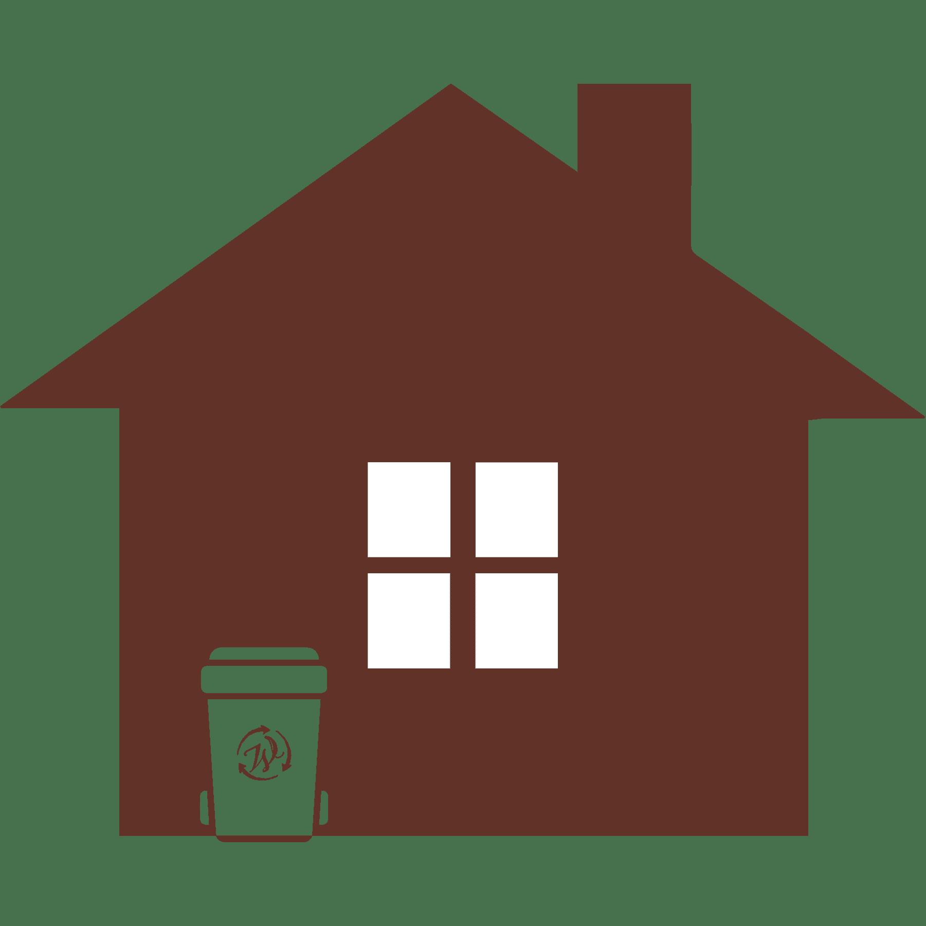 trash bin by house