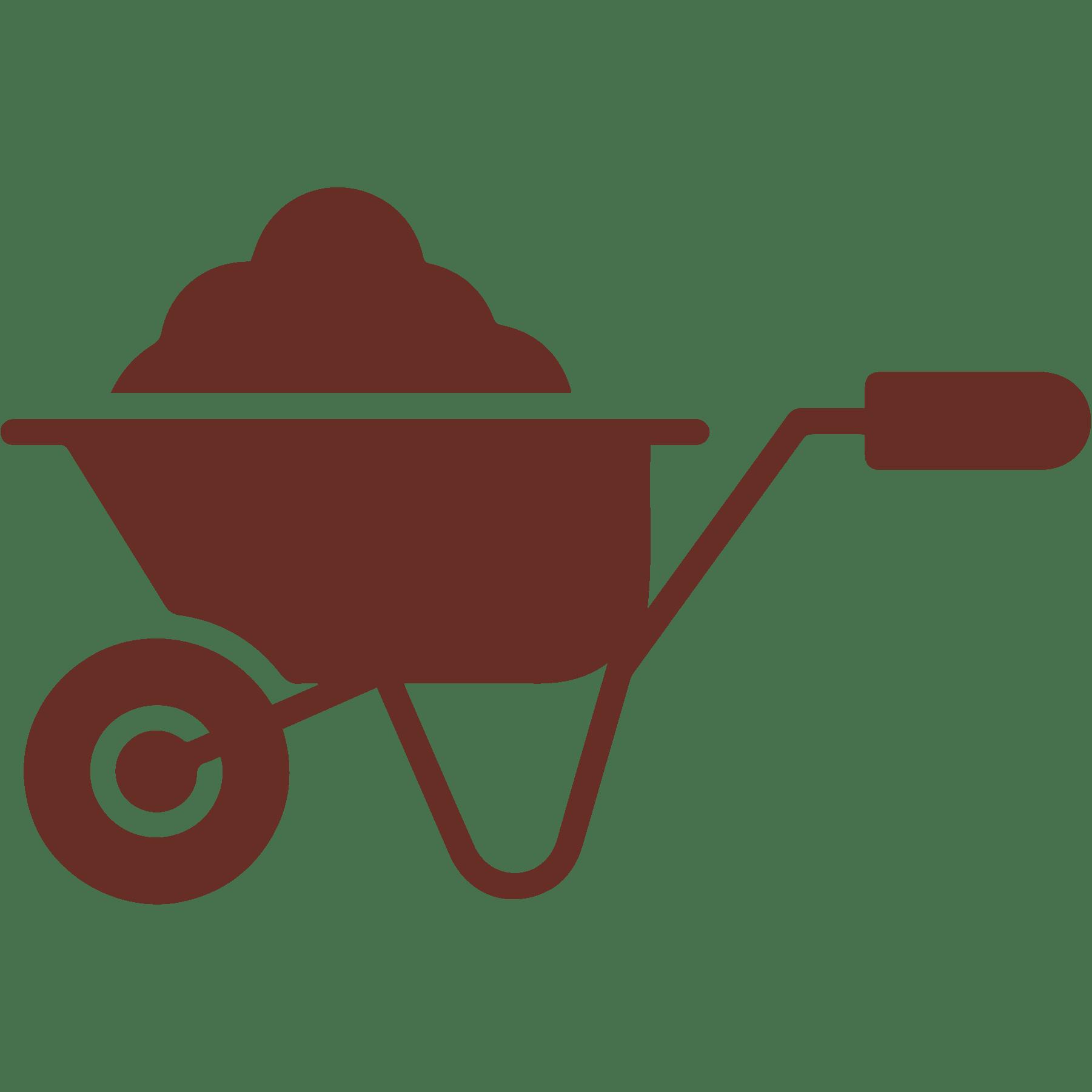 wheelbarrow full of mulch icon