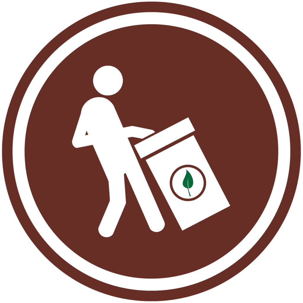 worker with zero waste container