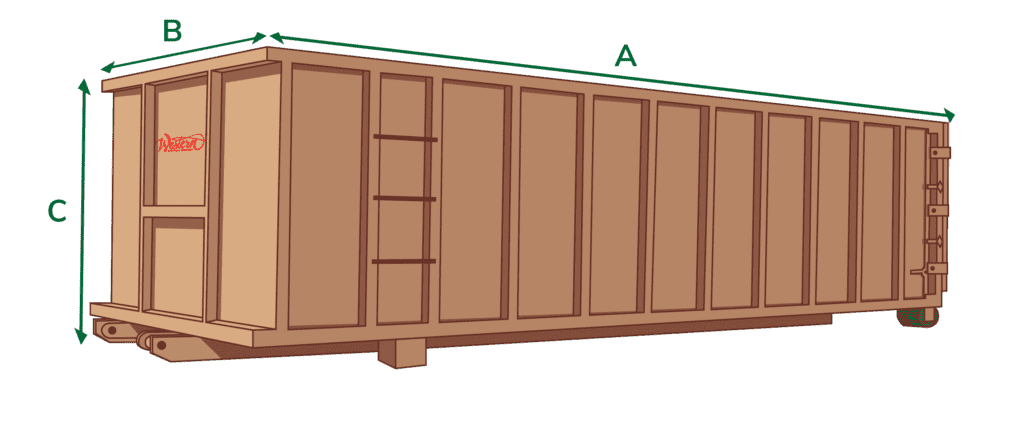 40 yard dumpster dimensions graphic